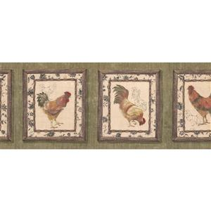 Retro Art Roosters on Vintage Plaques Wallpaper Border - Green