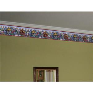 Retro Art Birdhouses and Flowers Wallpaper Border - Purple
