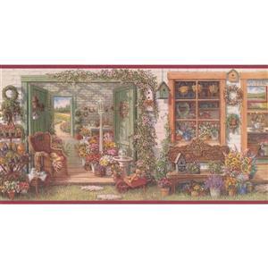 Retro Art Vintage Flower Shop Wallpaper Border