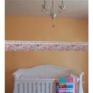 Retro Art Floral Wallpaper Border - Pink