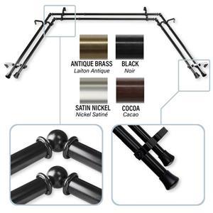 Rod Desyne Bay Window Curtain Rod - Stainless Steel - Black