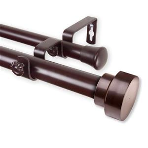Rod Desyne Bonnet Double Curtain Rod - 120-in to 170-in - Mahogany