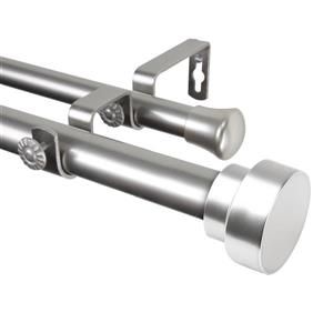 Rod Desyne Bonnet Double Curtain Rod - 28-in to 48-in - Nickel