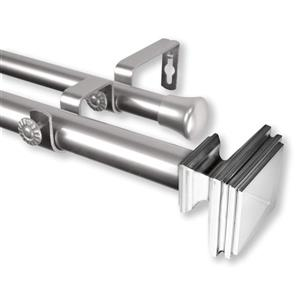 Rod Desyne Bedpost Double Curtain Rod - 66-in to 120-in - Nickel