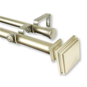Rod Desyne Bedpost Double Curtain Rod - 1-in - Stainless Steel - Gold