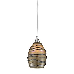ELK Lighting Vines Mini Pendant Light - 1-Light - Satin Nickel with Tan Glass