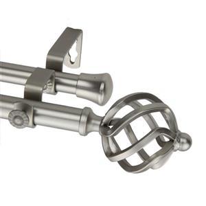 Rod Desyne Twist Double Curtain Rod - 66-120-in- 13/16-in- Nickel