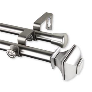 Rod Desyne Marion Double Curtain Rod- 120-170-in - 13/16-in - Nickel