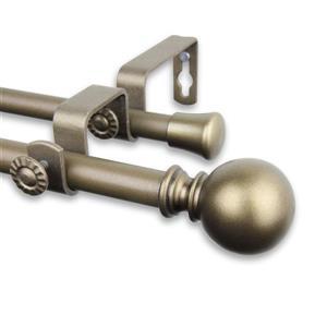Rod Desyne Luna Double Curtain Rod - 28-48-in-  5/8-in - Gold