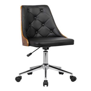 "Armen Living Diamond Office Chair - 17"" x 35"" - Polyurethane - Black"