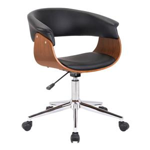 "Armen Living Bellevue Office Chair - 18"" x 33"" - Polyurethane - Black"