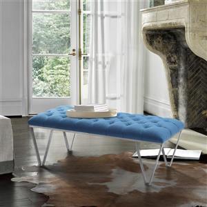 "Armen Living Serene Bench - 18"" x 54"" - Fabric - Blue"