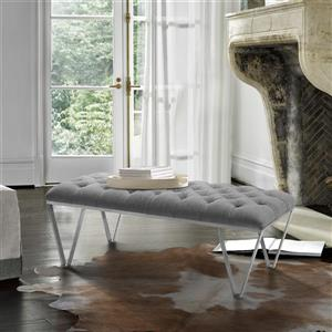 "Armen Living Serene Bench - 18"" x 54"" - Fabric - Gray"