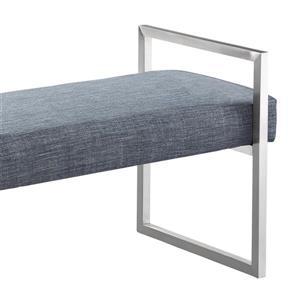 """Armen Living Grant Bench - 21"""" x 43"""" - Linen - Slate Gray"""