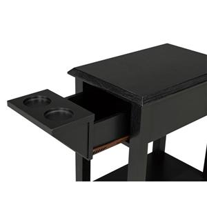 "Brassex Telephone Stand with Storage Drawer - 24"" - Wood - Black"