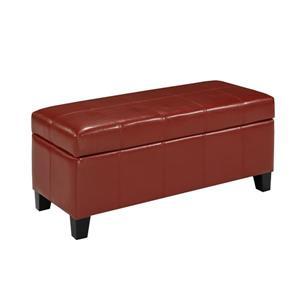 "Brassex Storage Ottoman - 33.8"" x 16.1"" - Faux Leather - Red"