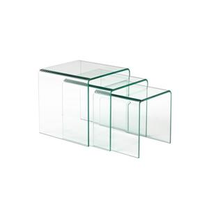 Brassex Nesting Tables - Bent Glass - Clear - Set of 3