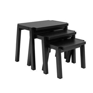Brassex Nesting Tables - Wood - Black - Set of 3