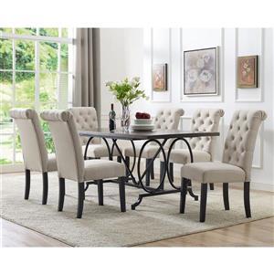Brassex Soho Dining Set - Polyester - Beige - 7 Pieces