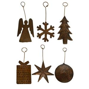 Premier Copper Products Copper Christmas Ornaments - Assortment of 6