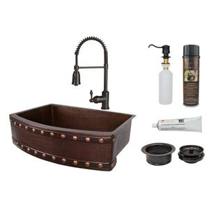 Premier Copper Products Copper Sink with Faucet & Drain - 30-in
