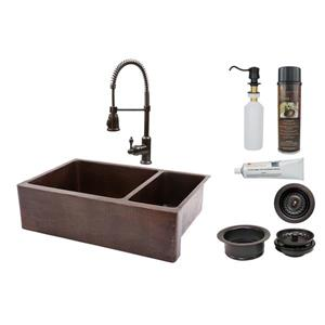 Premier Copper Products Copper Kitchen Sink with Faucet and Drains - 33-in