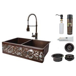 Premier Copper Products Kitchen Sink with Faucet and Drains - 33-in - Copper/Nickel