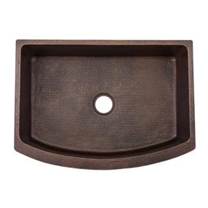 Premier Copper Products Copper Kitchen Sink with Drain and Accessories - 30-in