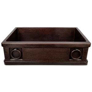Premier Copper Products Copper Kitchen Sink with Drain and Accessories - 33-in
