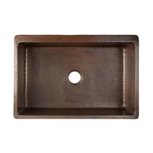 Premier Copper Products Vineyard Sink with Drain - 33-in - Copper/Nickel