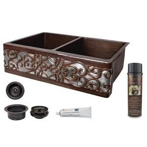 Premier Copper Products Kitchen Sink with Drain - 33-in - Copper/Nickel