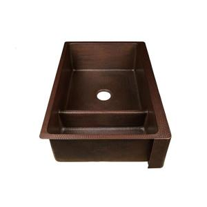 Premier Copper Products Copper Kitchen Sink with Drain - 33-in