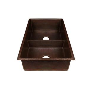 Premier Copper Products Copper Kitchen Sink with Drains - 33-in