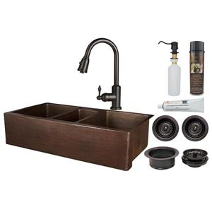 Premier Copper Products Copper Kitchen Sink with Faucet and Drain - 42-in
