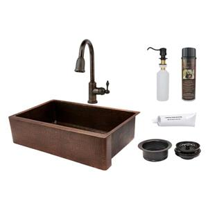 Premier Copper Products Copper Sink with Faucet and Drain - 35-in