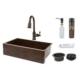 Premier Copper Products Copper Kitchen Sink with Faucet and Drain - 35-in