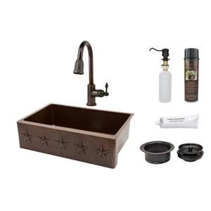 Premier Copper Products Copper Sink with Faucet and Drain - 33-in