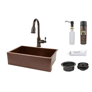 Premier Copper Products Antique Kitchen Sink with Faucet and Drain - 33-in- Copper