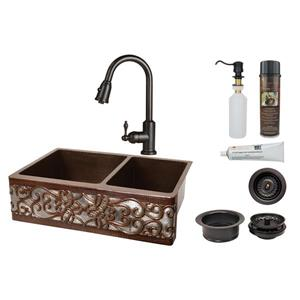 Premier Copper Products Sink with Faucet and Drain - 33-in- Copper/Nickel