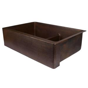 Premier Copper Products Copper Kitchen Sink with Divider - 33-in