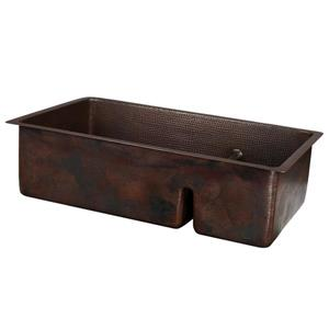 Premier Copper Products Copper Double Sink with Divider - 33-in