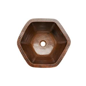 Premier Copper Products Hexagon Copper Sink with Faucet & Drain