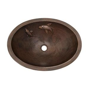 Premier Copper Products Oval Copper Bathroom Sink with Two Small Koi Fish Design