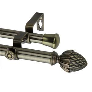 Rod Desyne Acorn Double Curtain Rod - 66-120-in - 13/16-in - Brass