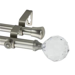 Rod Desyne Faceted Double Curtain Rod - 48-84-in - 13/16-in - Nickel