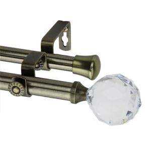 Rod Desyne Faceted Double Curtain Rod - 28-48-in - 13/16-in - Brass