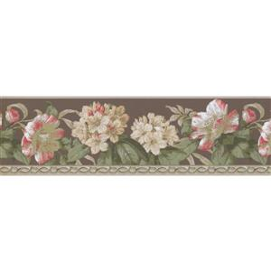 York Wallcoverings Flowers and Green Leaves Wallpaper Border - Grey