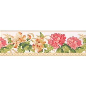 York Wallcoverings Flowers and Green Leaves Wallpaper - Pink/Yellow