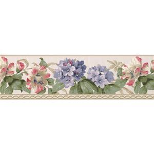 York Wallcoverings Flowers and Green Leaves Wallpaper - White