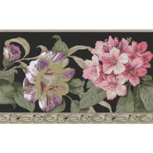 York Wallcoverings Flowers and Green Leaves Wallpaper - Charcoal/Pink